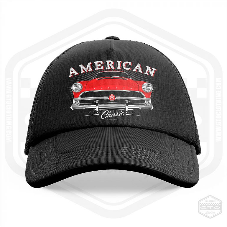 1954 hudson hornet classic trucker cap black with red front print product