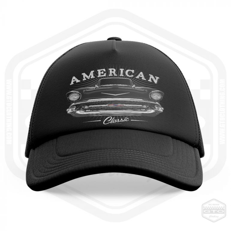 1957 chevrolet bel air classic trucker cap black with black front print product