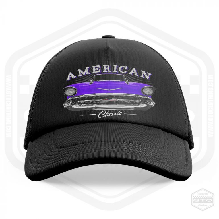 1957 chevrolet bel air classic trucker cap black with purple front print product