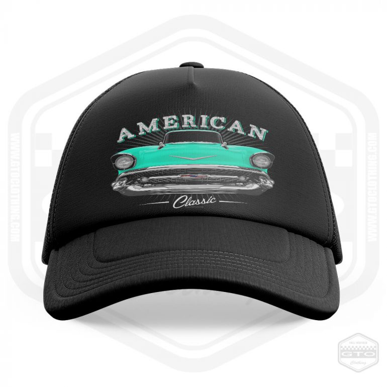 1957 chevrolet bel air classic trucker cap black with turquoise front print product