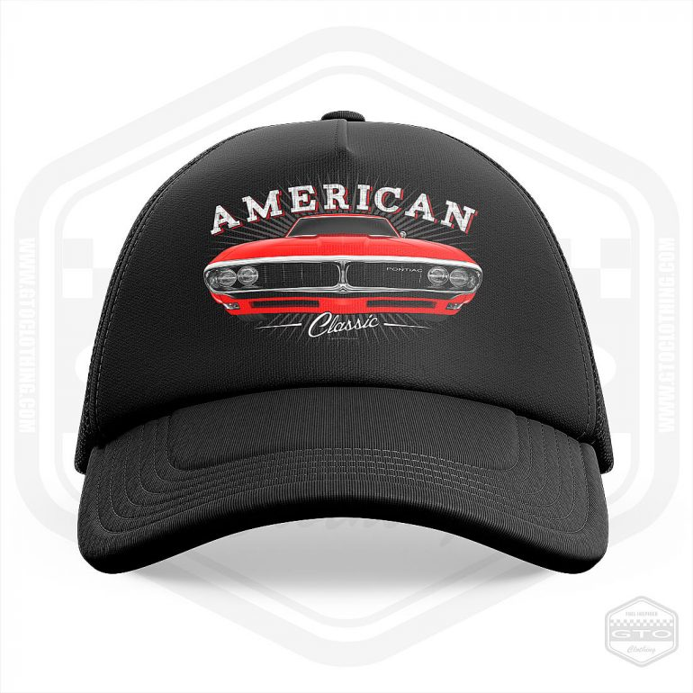 1968 pontiac firebird classic trucker cap black with red front print product