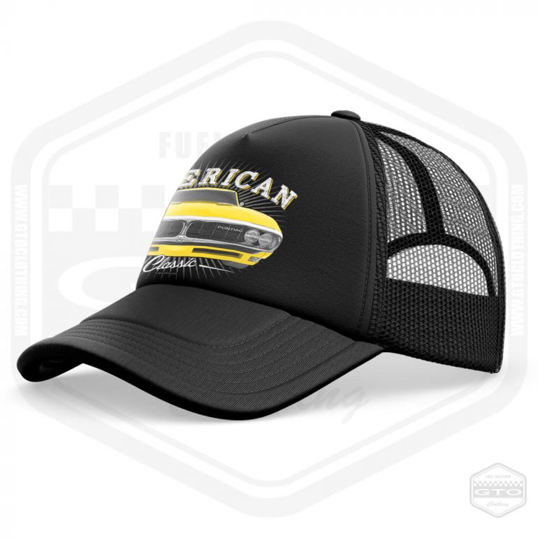 1968 pontiac firebird classic trucker cap black with yellow front print product side