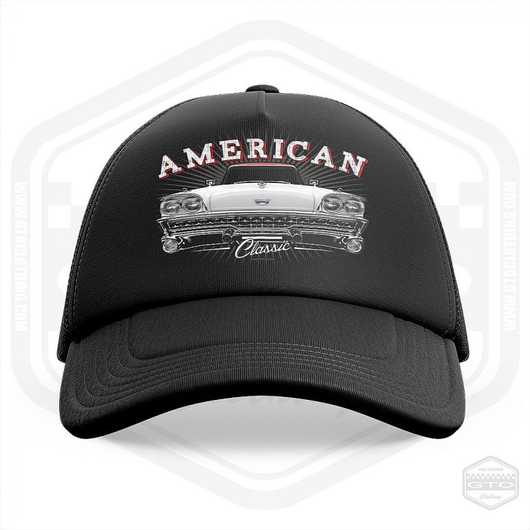 1969 ford fairlane classic trucker cap black with white red front print product