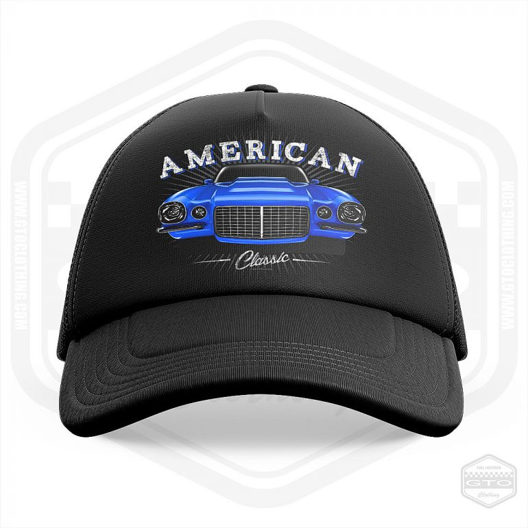 1970 chevrolet camaro classic trucker cap black with blue front print product