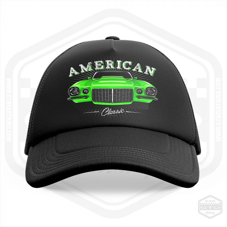 1970 chevrolet camaro classic trucker cap black with green front print product