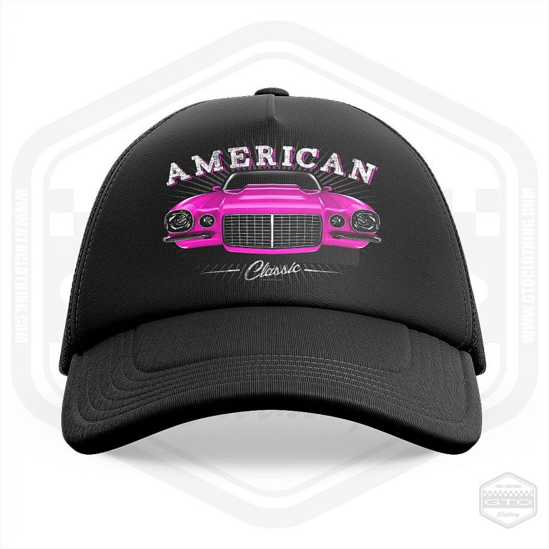 1970 chevrolet camaro classic trucker cap black with pink front print product