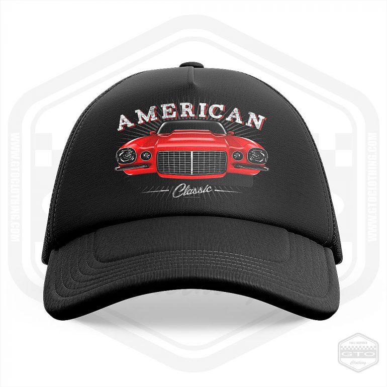 1970 chevrolet camaro classic trucker cap black with red front print product