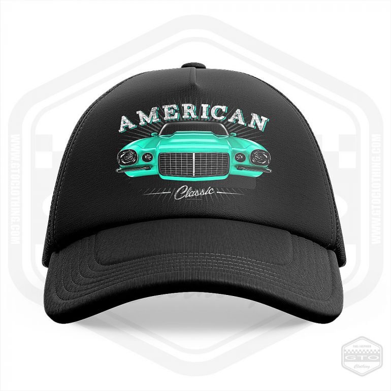 1970 chevrolet camaro classic trucker cap black with turquoise front print product