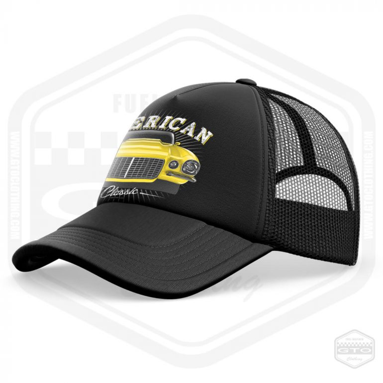 1970 chevrolet camaro classic trucker cap black with yellow front print product side