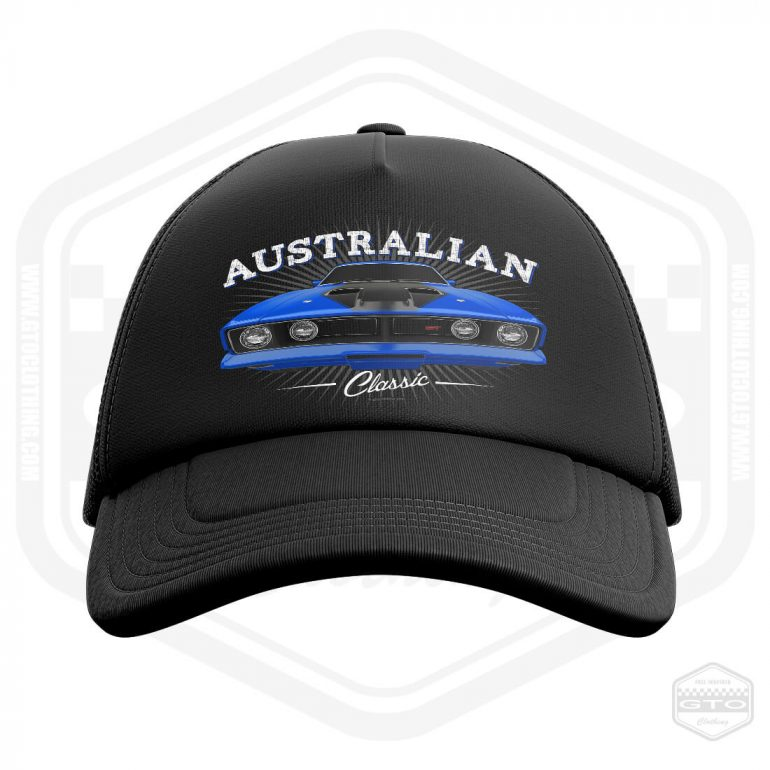 1973 ford falcon gt classic trucker cap black with blue front print product