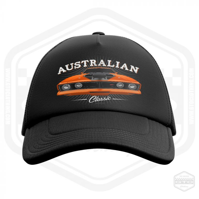 1973 ford falcon gt classic trucker cap black with orange front print product