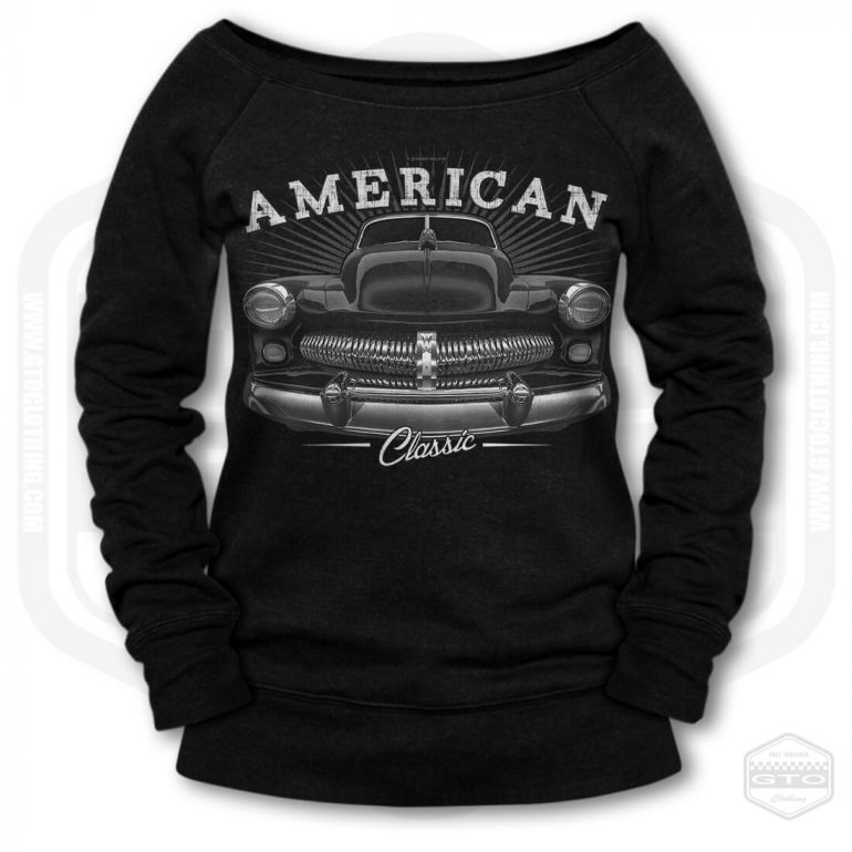 1949 mercury eight coupe classic womens wide neck sweatshirt black with black front print product