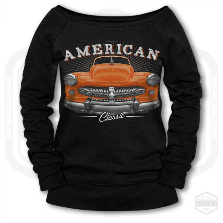 1949 mercury eight coupe classic womens wide neck sweatshirt black with orange front print product