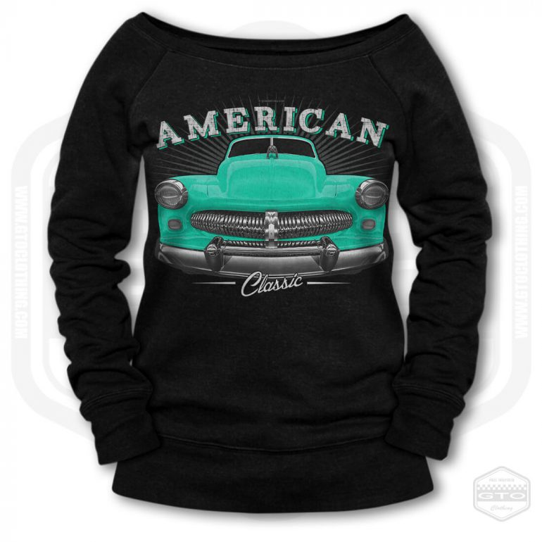 1949 mercury eight coupe classic womens wide neck sweatshirt black with turquoise front print product