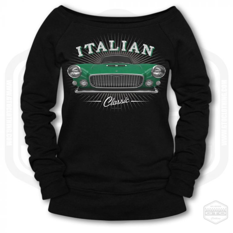 1959 maserati spyder classic womens wide neck sweatshirt black with green front print product