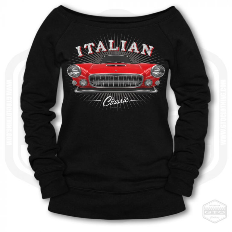 1959 maserati spyder classic womens wide neck sweatshirt black with red front print product