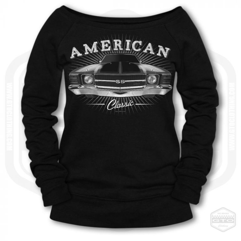 1971 chevrolet chevelle classic womens wide neck sweatshirt black with black front print product