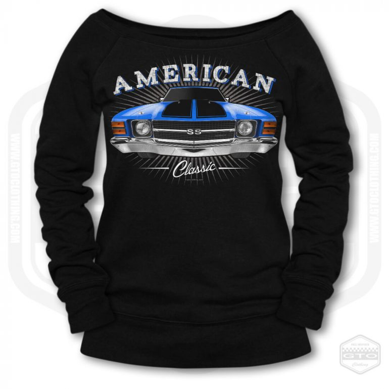 1971 chevrolet chevelle classic womens wide neck sweatshirt black with blue front print product