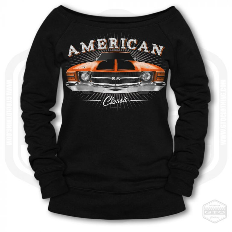 1971 chevrolet chevelle classic womens wide neck sweatshirt black with orange front print product