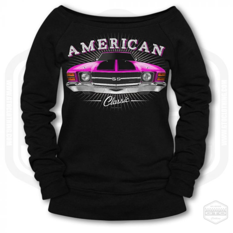 1971 chevrolet chevelle classic womens wide neck sweatshirt black with pink front print product