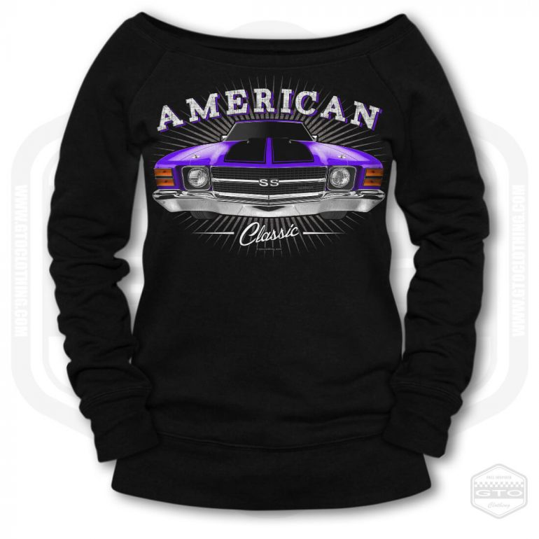 1971 chevrolet chevelle classic womens wide neck sweatshirt black with purple front print product