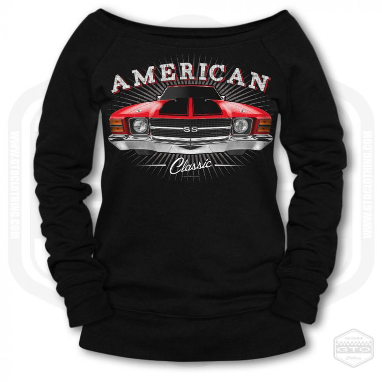 1971 chevrolet chevelle classic womens wide neck sweatshirt black with red front print product
