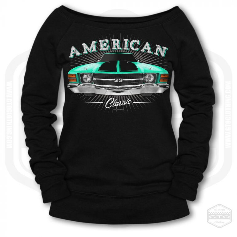 1971 chevrolet chevelle classic womens wide neck sweatshirt black with turquoise front print product