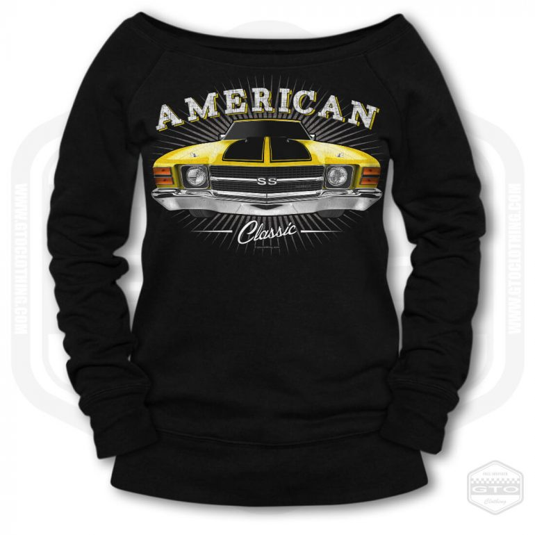 1971 chevrolet chevelle classic womens wide neck sweatshirt black with yellow front print product