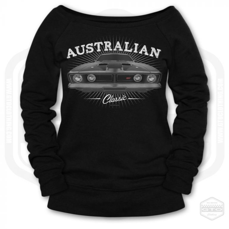 1973 ford falcon gt classic womens wide neck sweatshirt black with black front print product