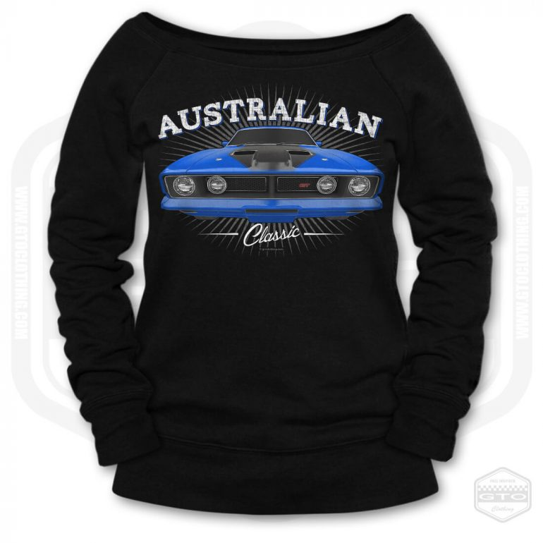 1973 ford falcon gt classic womens wide neck sweatshirt black with blue front print product