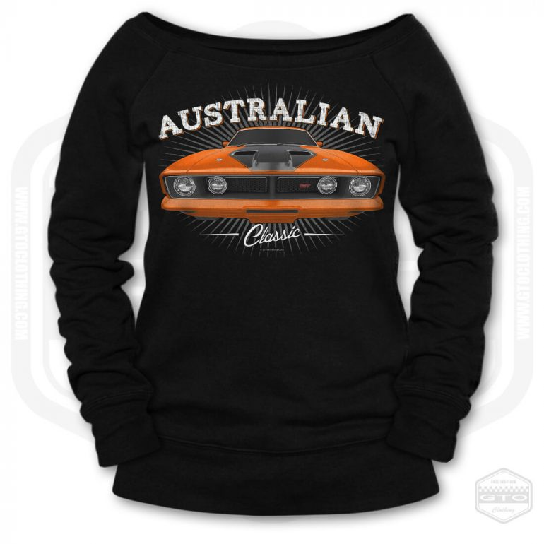 1973 ford falcon gt classic womens wide neck sweatshirt black with orange front print product