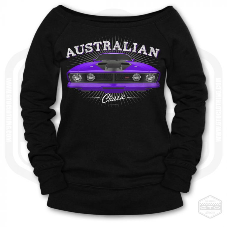 1973 ford falcon gt classic womens wide neck sweatshirt black with purple front print product