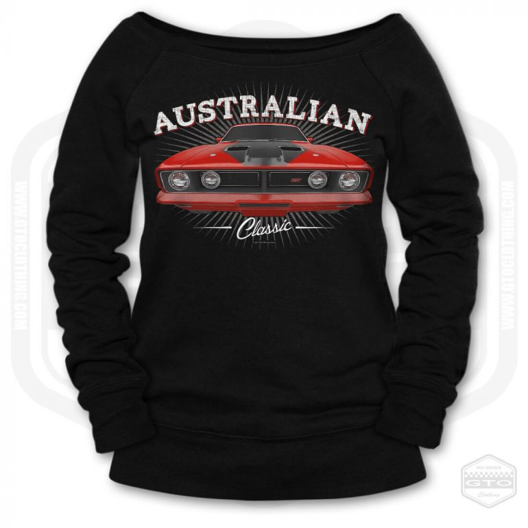 1973 ford falcon gt classic womens wide neck sweatshirt black with red front print product