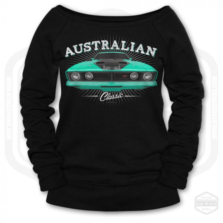 1973 ford falcon gt classic womens wide neck sweatshirt black with turquoise front print product