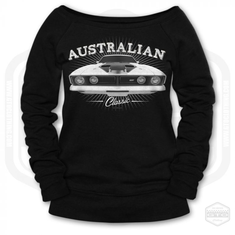 1973 ford falcon gt classic womens wide neck sweatshirt black with white front print product