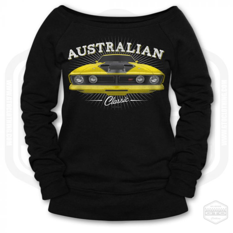 1973 ford falcon gt classic womens wide neck sweatshirt black with yellow front print product