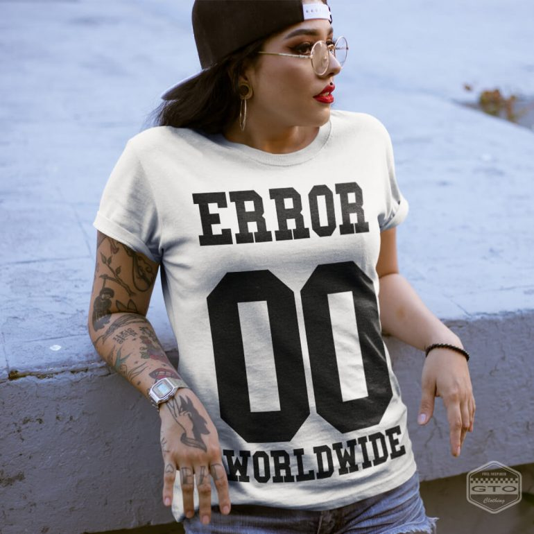 00 error worldwide womens t shirt white with black front print lifestyle2