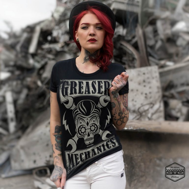 greaser mechanics womens t shirt black with white front print lifestyle1