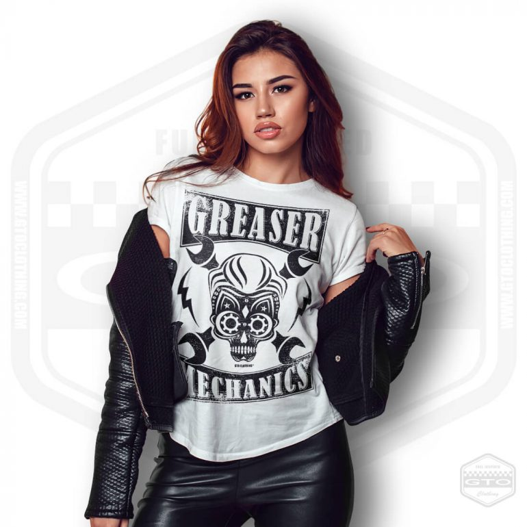 greaser mechanics womens t shirt white with black front print model7
