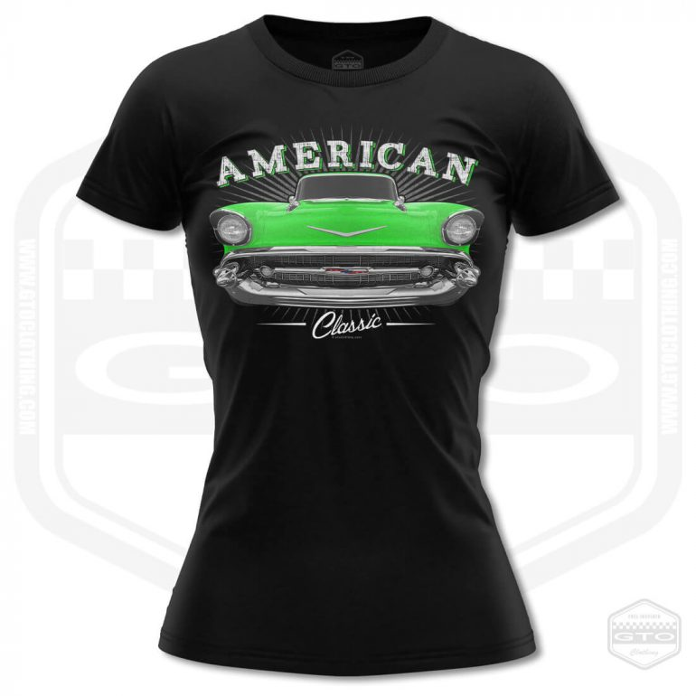 1957 chevrolet bel air classic womens t shirt black with green front print product