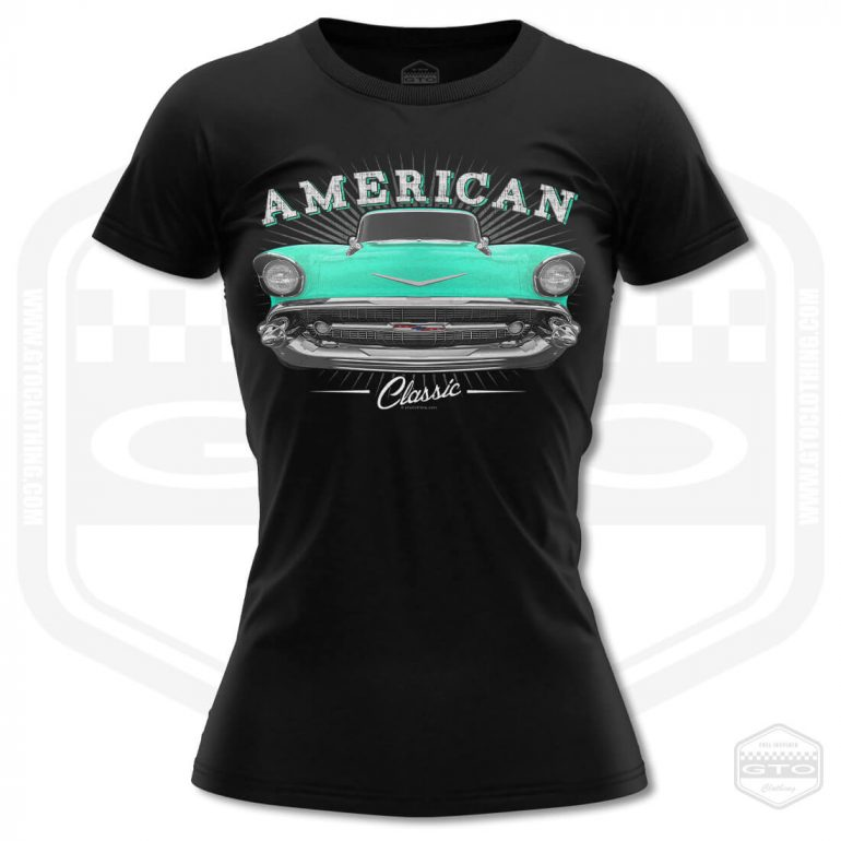 1957 chevrolet bel air classic womens t shirt black with turquoise front print product