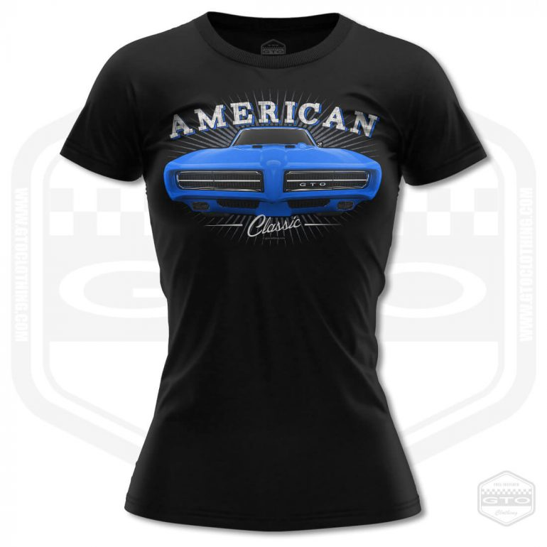 1968 pontiac gto classic womens t shirt black with blue front print product