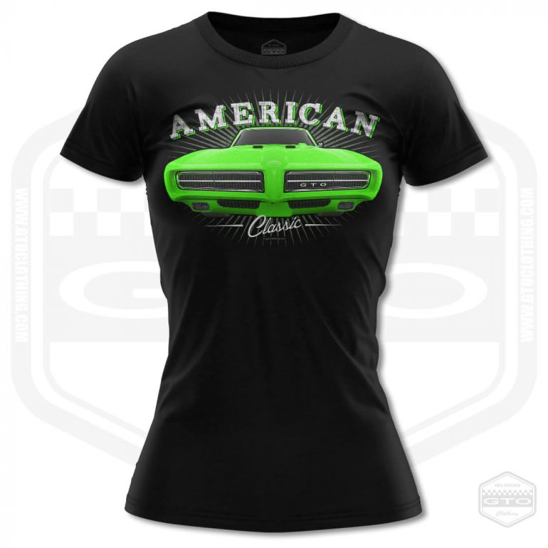 1968 pontiac gto classic womens t shirt black with green front print product