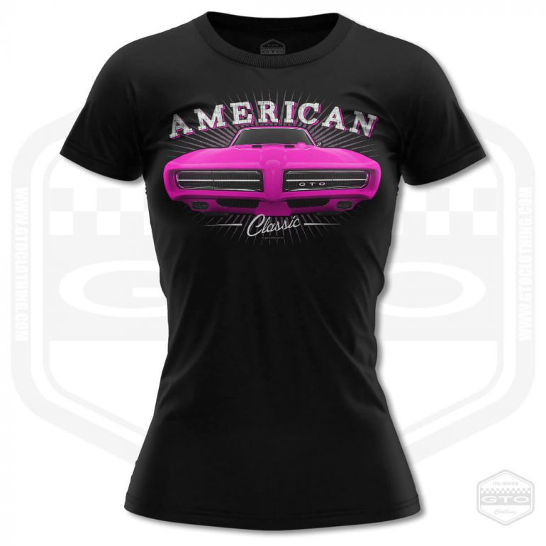 1968 pontiac gto classic womens t shirt black with pink front print product