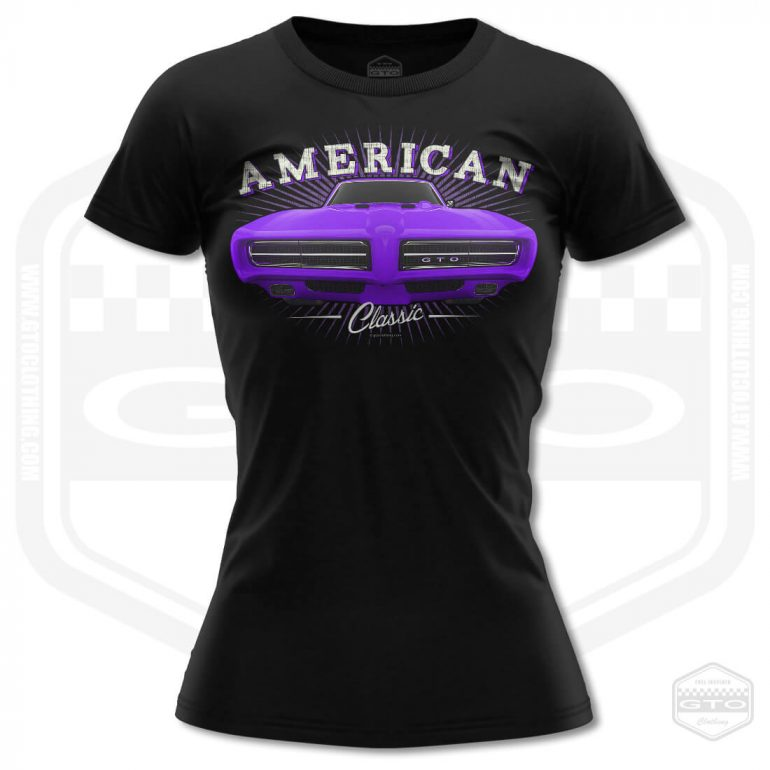 1968 pontiac gto classic womens t shirt black with purple front print product