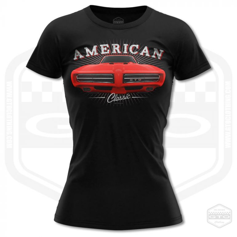 1968 pontiac gto classic womens t shirt black with red front print product
