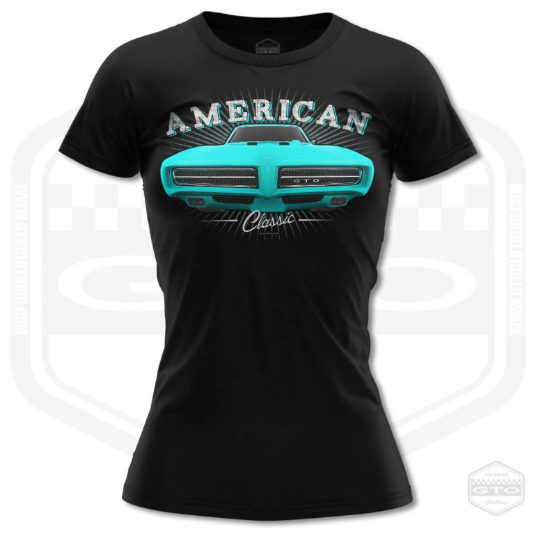 1968 pontiac gto classic womens t shirt black with turquoise front print product