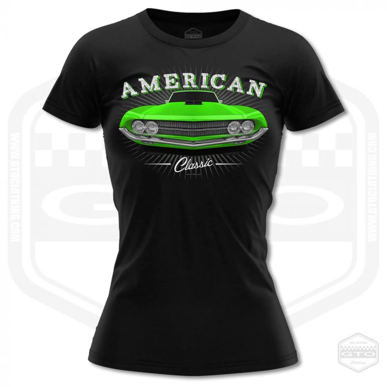 1970 ford falcon 429 classic womens t shirt black with green front print product