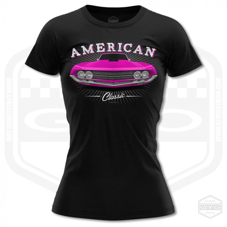 1970 ford falcon 429 classic womens t shirt black with pink front print product
