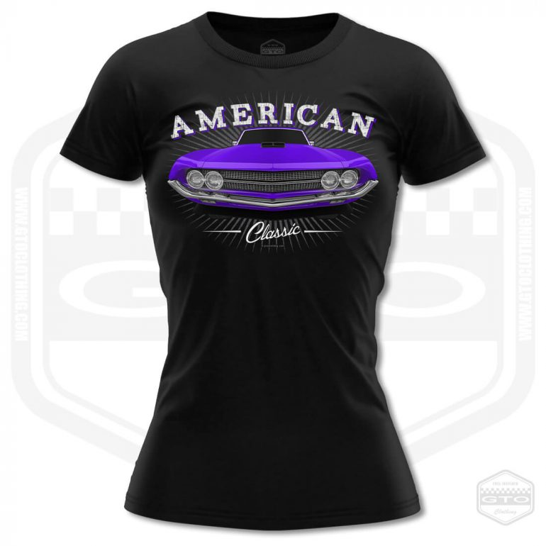 1970 ford falcon 429 classic womens t shirt black with purple front print product
